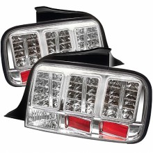 2005-2009 Ford Mustang LED Tail Lights (PAIR) - Chrome (Spyder Auto)