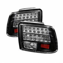 1999-2004 Ford Mustang (will not fit the Cobra model) LED Tail Lights (PAIR) - Black (Spyder Auto)