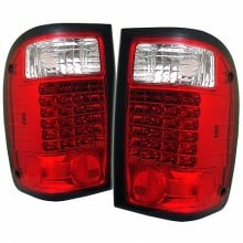 1993-2000 Ford Ranger LED Tail Lights (PAIR) - Red Clear (Spyder Auto)