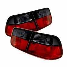 1996-2000 Honda Civic 2Dr Euro Style Tail Lights (PAIR) - Red Smoke (Spyder Auto)