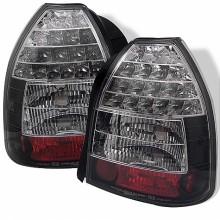 1996-2000 Honda Civic 3DR LED Tail Lights (PAIR) - Black (Spyder Auto)