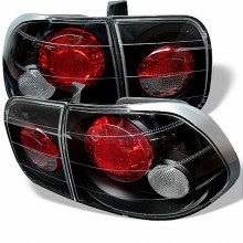 1996-1998 Honda Civic 4Dr Euro Style Tail Lights (PAIR) - Black (Spyder Auto)