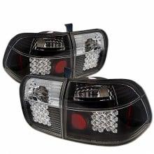 1996-1998 Honda Civic 4Dr LED Tail Lights (PAIR) - Black (Spyder Auto)