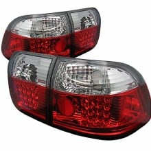 1996-1998 Honda Civic 4Dr LED Tail Lights (PAIR) - Red Clear (Spyder Auto)