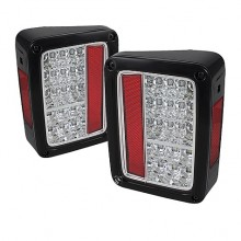 2007-2013 Jeep Wrangler LED Tail Lights (PAIR) - Chrome (Spyder Auto)