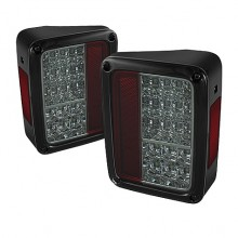 2007-2013 Jeep Wrangler LED Tail Lights (PAIR) - Chrome (Spyder Auto)