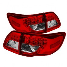 2009-2010 Toyota Corolla LED Tail Lights (PAIR) - Red Clear (Spyder Auto)