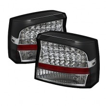 2006-2008 Dodge Charger LED Tail Lights (PAIR) - Black (Spyder Auto)