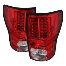 2007-2012 Toyota Tundra LED Tail Lights (PAIR) - Red Clear (Spyder Auto)