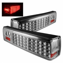 1987-1993 Ford Mustang LED Tail Lights (PAIR) - Chrome (Spyder Auto)