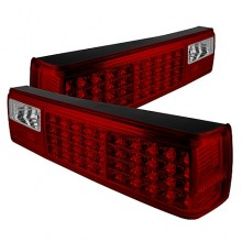 1987-1993 Ford Mustang LED Tail Lights (PAIR) - Red Clear (Spyder Auto)