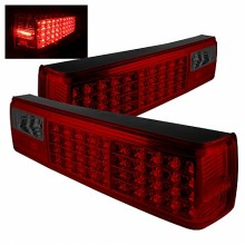 1987-1993 Ford Mustang LED Tail Lights (PAIR) - Red Smoke (Spyder Auto)