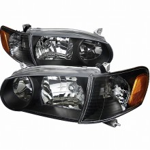 2001-2002 TOYOTA  COROLLA  1PC EURO HEADLIGHTS (PAIR) BLACK HOUSING  (Spec-D Tuning)