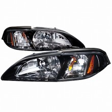 1994-1998 FORD  MUSTANG  1 PIECE CRYSTAL HOUSING HEADLIGHTS (PAIR) SMOKE LENS (Spec-D Tuning)