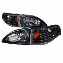 1994-1998 FORD  MUSTANG  COMBO BLACK HOUSING HEADLIGHTS (PAIR) WITH CORNER LIGHT (Spec-D Tuning)