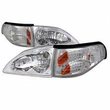 1994-1998 FORD  MUSTANG  COMBO CHROME HOUSING HEADLIGHTS (PAIR) WITH CORNER LIGHT (Spec-D Tuning)
