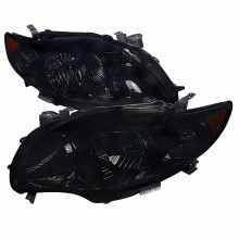 2009-2010 TOYOTA  COROLLA  EURO HEADLIGHTS (PAIR) SMOKE LENS BLACK HOUSING  (Spec-D Tuning)