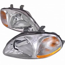 1996-1998 HONDA CIVIC CRYSTAL HOUSING HEADLIGHTS (PAIR) CHROME (Spec-D Tuning)