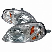 1999-2000 HONDA CIVIC CRYSTAL HOUSING HEADLIGHTS (PAIR) CHROME (Spec-D Tuning)