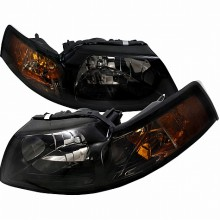 1999-2004 FORD MUSTANG CRYSTAL HOUSING HEADLIGHTS (PAIR) SMOKE (Spec-D Tuning)