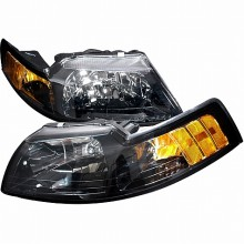 1999-2004 FORD MUSTANG CRYSTAL HOUSING HEADLIGHTS (PAIR) BLACK (Spec-D Tuning)