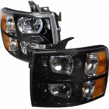 2007-2010 CHEVY SILVERADO CRYSTAL HOUSING HEADLIGHTS (PAIR) BLACK (Spec-D Tuning)