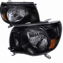 2005-2011 TOYOTA TACOMA CRYSTAL HOUSING HEADLIGHTS (PAIR) BLACK (Spec-D Tuning)
