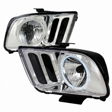 2005-2009 FORD MUSTANG CRYSTAL HOUSING HEADLIGHTS (PAIR) CHROME (Spec-D Tuning)