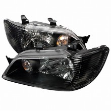 2002-2003 MITSUBISHI LANCER CRYSTAL HOUSING HEADLIGHTS (PAIR) BLACK (Spec-D Tuning)