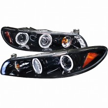 1997-2003 PONTIAC GRAND PRIX 1 PIECE PROJECTOR HEADLIGHTS (PAIR) GLOSS BLACK SMOKE LENS (Spec-D Tuning)