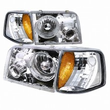 1993-1997 FORD RANGER COMBO PROJECTOR HEADLIGHTS (PAIR) CHROME WITH CORNER LIGHT  (Spec-D Tuning)