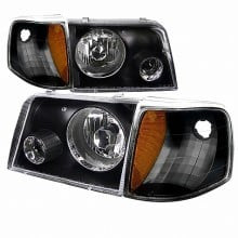 1993-1997 FORD RANGER COMBO PROJECTOR HEADLIGHTS (PAIR) BLACK WITH CORNER LIGHT  (Spec-D Tuning)