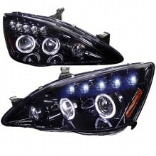 2003-2007 HONDA  ACCORD  SMOKED LENS GLOSS BLACK HOUSING PROJECTOR HEADLIGHTS (PAIR) (Spec-D Tuning)