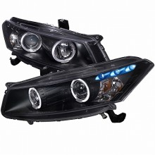 2008-2013  HONDA  ACCORD  HALO PROJECTOR HEADLIGHTS (PAIR) BLACK HOUSING  (Spec-D Tuning)