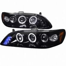 1998-2002 HONDA  ACCORD  SMOKED LENS GLOSS BLACK HOUSING PROJECTOR HEADLIGHTS (PAIR) (Spec-D Tuning)