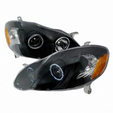 2003-2005 TOYOTA COROLLA HALO PROJECTOR HEADLIGHTS (PAIR) BLACK (Spec-D Tuning)
