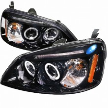 2001-2003 HONDA  CIVIC  SMOKED LENS GLOSS BLACK HOUSING PROJECTOR HEADLIGHTS (PAIR) (Spec-D Tuning)