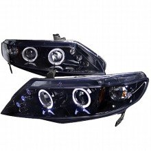 2006-2010 HONDA  CIVIC  SMOKED LENS GLOSS BLACK HOUSING PROJECTOR HEADLIGHTS (PAIR) (Spec-D Tuning)