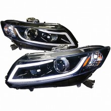 2012-2013 HONDA CIVIC R8 STYLE LED PROJECTOR HEADLIGHTS (PAIR) GLOSS BLACK HOUSING SMOKE LENS (Spec-D Tuning)