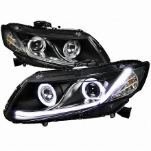2012-2013 HONDA CIVIC R8 STYLE PROJECTOR HEADLIGHTS (PAIR) - BLACK (Spec-D Tuning)