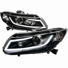 2012-2013 HONDA CIVIC R8 STYLE LED PROJECTOR HEADLIGHTS (PAIR) BLACK (Spec-D Tuning)