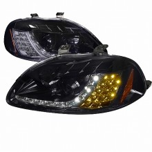 1996-1998 HONDA  CIVIC  R8 STYLE SMOKED LENS GLOSS BLACK AMBER LED SIGNAL PROJECTOR HEADLIGHTS (PAIR) (Spec-D Tuning)