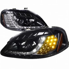 1999-2000 HONDA  CIVIC  R8 STYLE SMOKED LENS GLOSS BLACK AMBER LED SIGNAL PROJECTOR HEADLIGHTS (PAIR) (Spec-D Tuning)