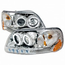 1997-2002 FORD EXPEDITION HALO PROJECTOR HEADLIGHTS (PAIR) CHROME (Spec-D Tuning)