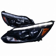 2012-2013 FORD  FOCUS PROJECTOR HEADLIGHTS (PAIR) - GLOSSY BLACK (Spec-D Tuning)