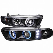 1999-2002 MITSUBISHI GALANT PROJECTOR HEADLIGHTS (PAIR) BLACK (Spec-D Tuning)