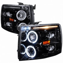2007-2010 CHEVY SILVERADO SMOKED LENS GLOSS BLACK HOUSING PROJECTOR HEADLIGHTS (PAIR) (Spec-D Tuning)