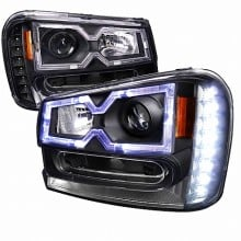 2002-2009 CHEVY  TRAILBLAZER  HALO PROJECTOR HEADLIGHTS (PAIR) BLACK HOUSING  (Spec-D Tuning)