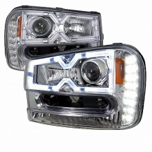 2002-2005 CHEVY TRAILBLAZER  PROJECTOR HEADLIGHTS (PAIR) CHROME HOUSING  (Spec-D Tuning)