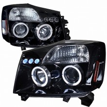 2004-2007 NISSAN  TITAN  HALO PROJECTOR HEADLIGHTS (PAIR) GLOSS BLACK HOUSING SMOKE LENS  (Spec-D Tuning)